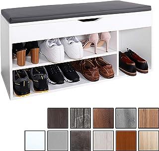 RICOO WM034-W-A, Banco Zapatero, 104x49x30cm, Armario Interior con Asiento, Organizador Zapatos, Mueble recibidor, Perchero Entrada, Madera Blanco