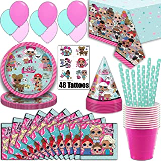 LOL Suprise Party Supplies, Serves 16 - Plates, Napkins, Tablecloth, Cups, Straws, Balloons, Tattoos, Birthday Hats - Full Tableware, Decorations, Favors for L.O.L Collectors