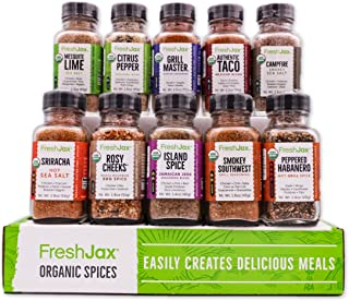 Sponsored Ad - FreshJax Premium Organic Gourmet Spice Gift Set, Meat Steak Lover Seasonings Sampler (Meat 10 Spice Gift Set)
