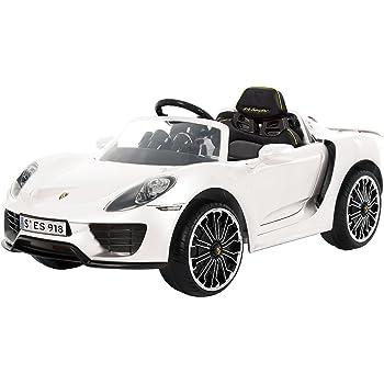ROLLPLAY Premium Elektrofahrzeug mit Fernsteuerung und Rückwärtsgang, Für Kinder ab 3 Jahren, Bis max. 35 kg, 12-Volt-Akku, Bis zu 5 km/h, Porsche 918 Spyder, Weiß