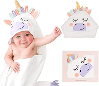 Posh Peanut Baby Hooded Towel – Highly Absorbent Cotton Infant Towel for The House, Beach, Pool – Super Soft Newborn Drying Bath Towel – Great Baby Shower Gift Idea (Unicorn)