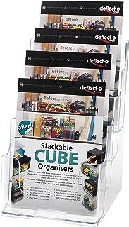 Deflect-o 77901- Soporte de pared o mesa para folletos (4 niveles, A5), transparente