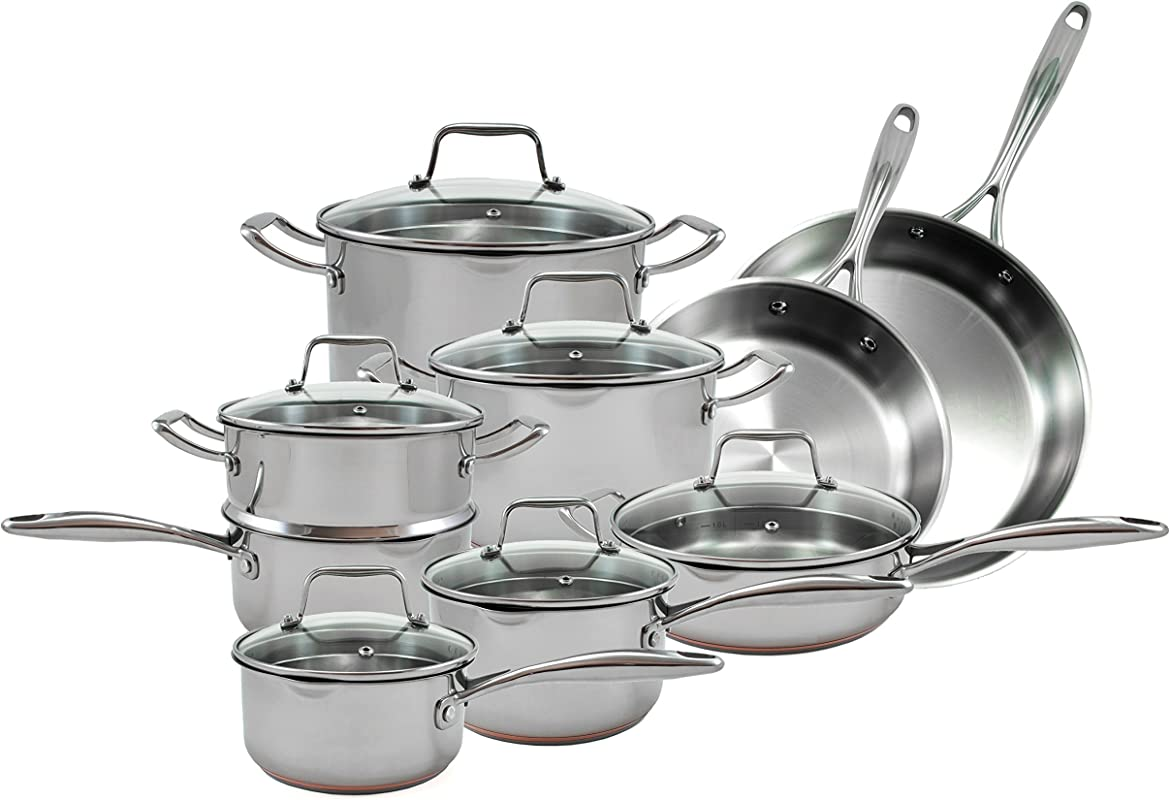 Oneida 15pc Stainless Steel Induction Ready Copper Base Cookware Set Dishwasher Safe