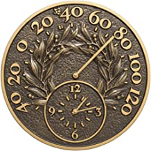 Whitehall 14 in. Indoor Outdoor Wall Clock and Thermometer in Bronze