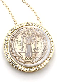 LESLIE BOULES St Benedict Pendant Necklace for Women 18K Gold Plated Chain 18 Inches Length