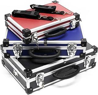 comprar comparacion Set de maletines aluminio en negro, azul y rojo Juego maletas Cajas de aluminio para almacenaje