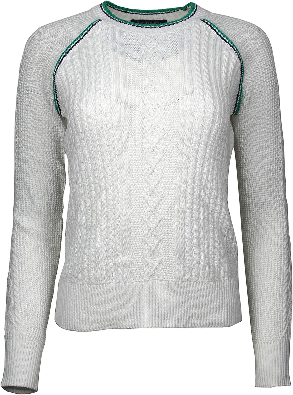 Brooks Bredhers Womens Cableknit Raglan Sleeve Crewneck Sweater White Green