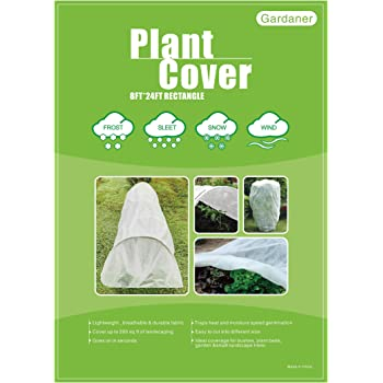 Gardaner Plant Covers Freeze Protection 0.9oz 8Ft x 24Ft Rectangle Plant Cover for Cold Protection, Animal,Season Extension