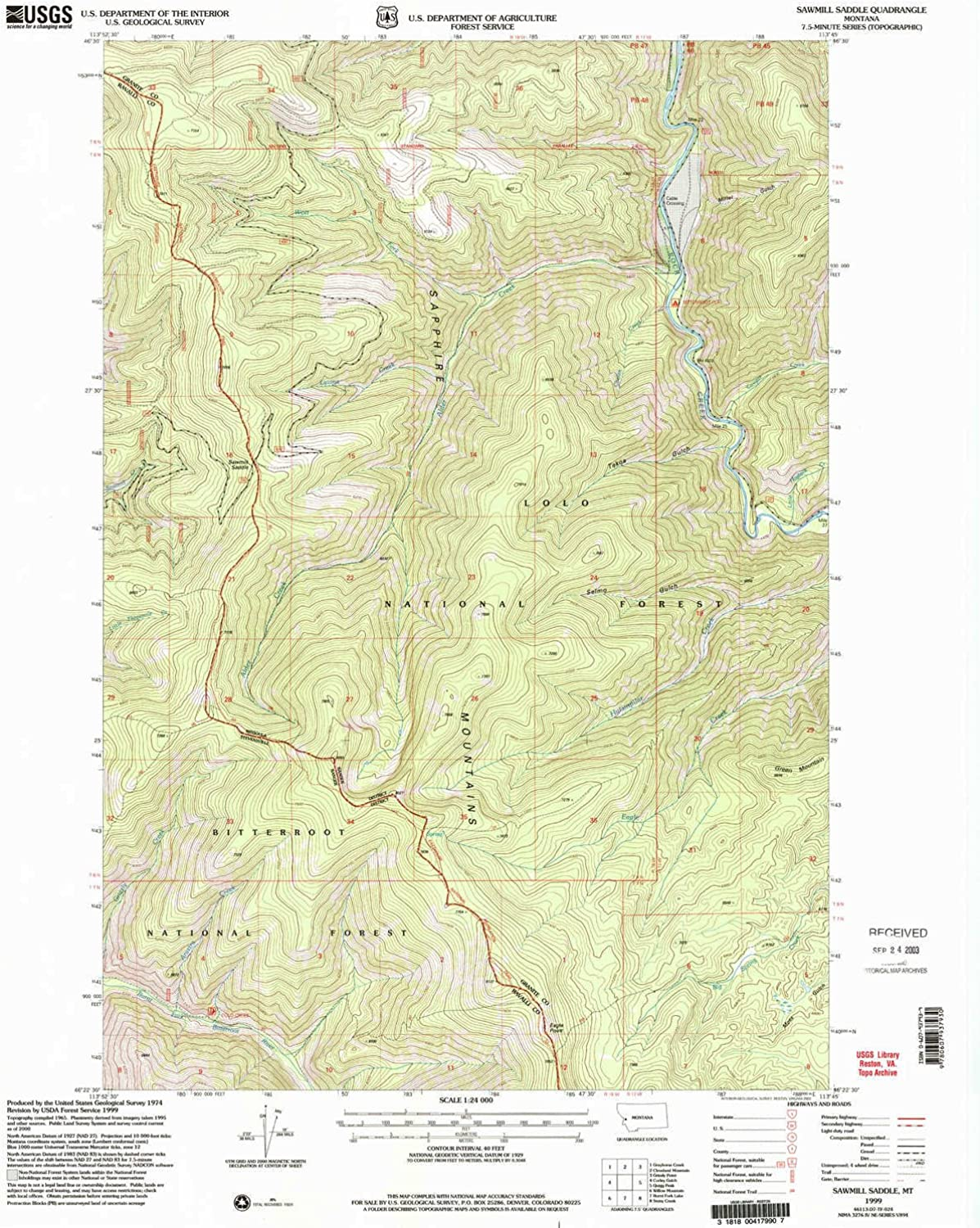 Sawmill Saddle MT topo map, 1 24000 Scale, 7.5 X 7.5 Minute, Historical, 1999, Updated 2003, 26.9 x 22 in