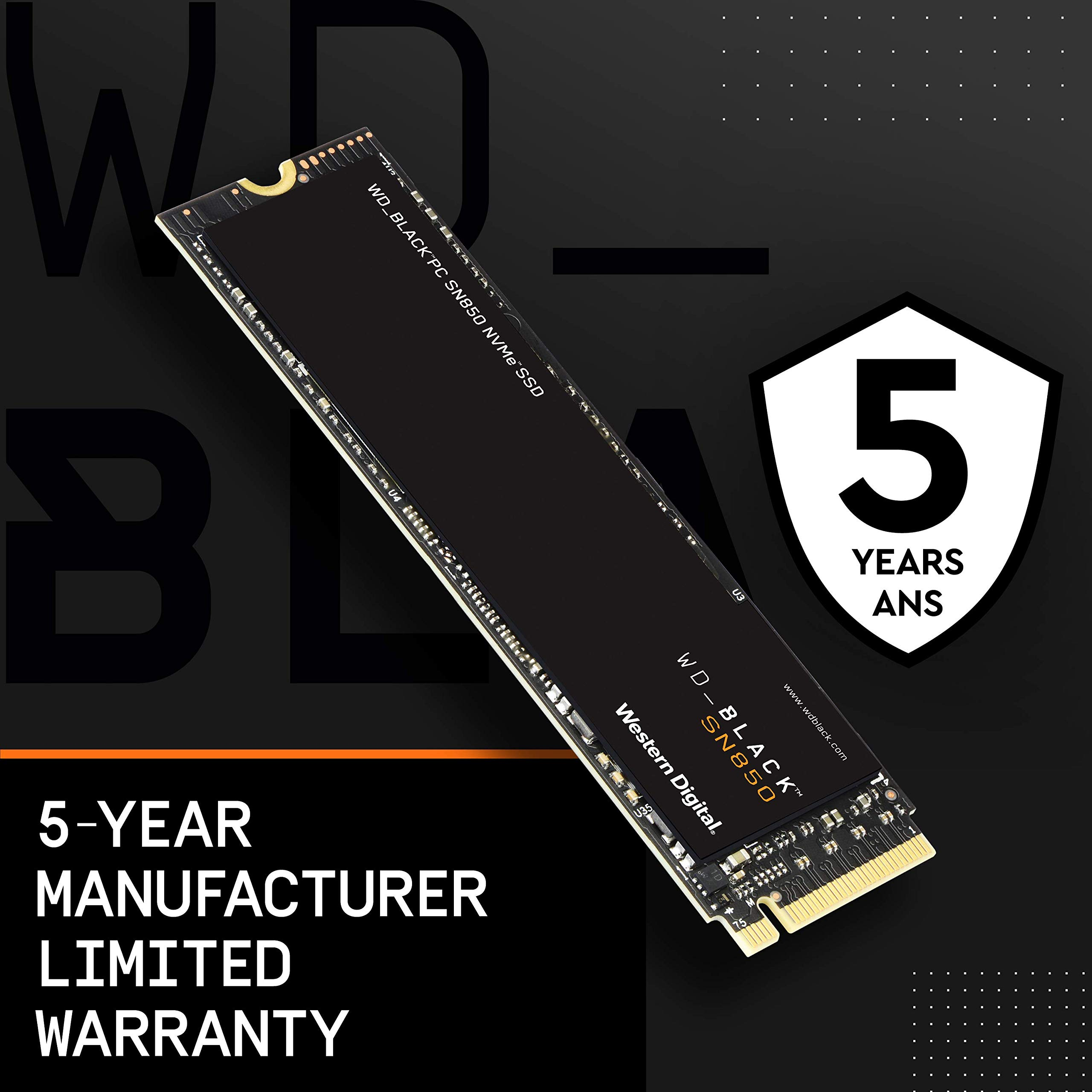 WD_BLACK 1TB SN850 NVMe Internal Gaming SSD Solid State Drive - Gen4 PCIe, M.2 2280, 3D NAND, Up to 7,000 MB/s - WDS100T1X0E