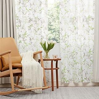 Bedsure レースカーテン UVカット 幅100cmx丈176cm 2枚組 リーフグリーン 葉っぱ 遮熱 外から見えにくい ミラーレースカーテン 洗える 透けない