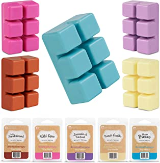 InYourNature Scented Soy Wax Melts - (5-Pack) 15 Ounces Wax Cubes for Electric Warmer Infused with Essential Oils - Lavender, Rose, Vanilla, Sandalwood and Ocean Breeze | All Natural Paraffin-Free