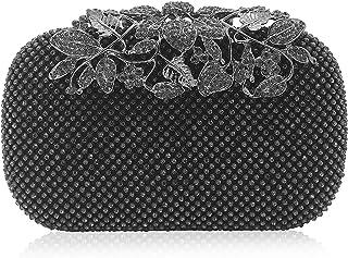 b968f2e38a9d8f Dexmay Luxury Flower Women Clutch Purse Rhinestone Crystal Evening Bag for  Wedding Party