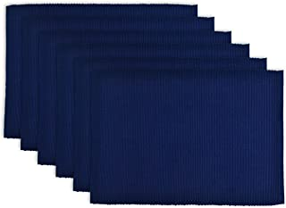 "DII 100% Cotton, Ribbed 13x 19"" Everyday Basic Placemat Set of 6, Nautical Blue"