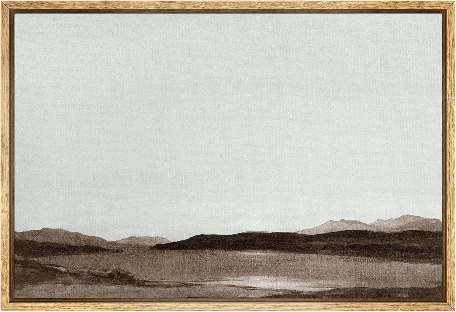 SIGNFORD Framed Canvas In a popularity Max 68% OFF Wall Art an Monochromatic Mountains Brown