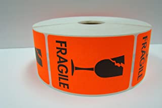 2 Rolls of 1000 labels each 2x3 BRIGHT RED Fragile CRACKED GLASS Shipping Mailing Labels Stickers
