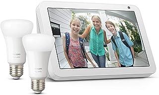 Echo Show 8, Tela de color gris claro + Philips Hue White Pack de 2 bombillas LED inteligentes, compatible con Bluetooth y...
