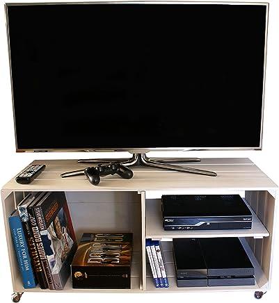 Liza Line Mesa DE Madera, Mueble TV con 3 Compartimentos y Ruedas Giratorias. Mueble Televisor de Pino Nórdico Macizo, Estilo Cajas Vintage con Estantes - 90 x 40 x 42 cm (Blanco Envejecido)