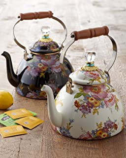 MacKenzie-Childs Tea Kettle, Steel Enamel - Flower Market - Multicolor - Printed Stovetop - 9