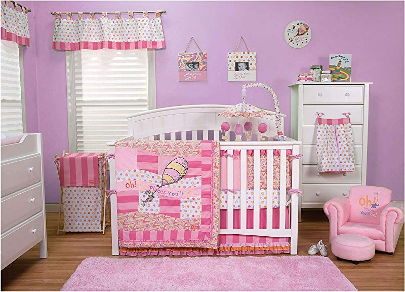 Trend Lab Dr Seuss Oh The Places You Ll Go Baby Pink Bedding Collection 3 Piece Crib Set