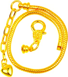 RUBYCA 5pcs Gold Color Heart Lobster European Style Snake Chain Bracelets fit Charm Beads 7.1