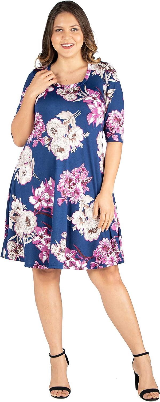 24seven Comfort Appare Elbow Sleeve Plus Size Knee Length Dress