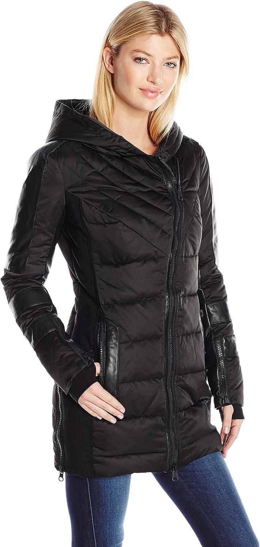white black Women's Asymmetric Puffer Coat