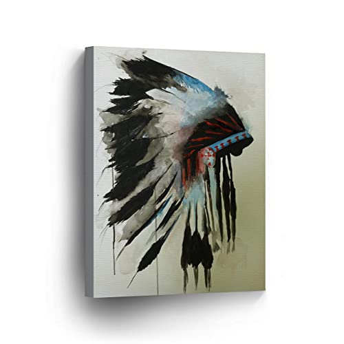 3c247a40eae43 INDIAN WALL ART Native American Chiefs Headdress Feathered Watercolor  Canvas Print Home Decor Decorative Artwork Gallery