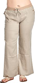 Women's Plus Size Wide Leg 100% Linen Pants with Drawstring Detail (Plus Size)