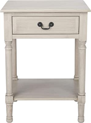 Safavieh Home Collection Ajana Distressed White and Honey Brown 1-Drawer Accent Tables