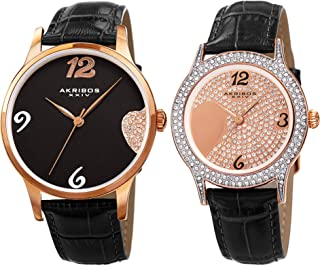 Akribos XXIV His & Hers Crystal Accented Interlocking Heart Watch Set - 2 Matching Wacthes On Crocodile Embossed Genuine Leather Bracelet - Makes a Great Gift- AK1076