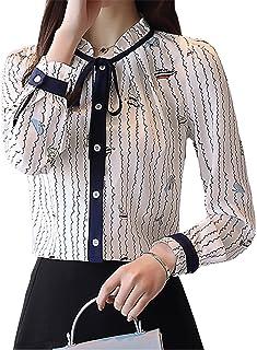 Assky レディース シャツ スタンドカラー プリント柄 リボン 長袖 可愛い ブラウス トップス