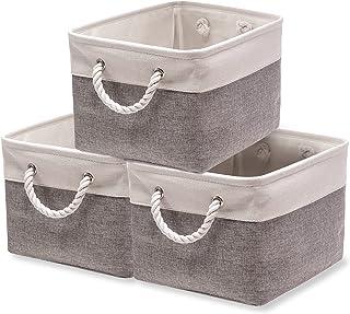 dudu@home 収納バスケット 収納かご ファブリック収納ボックス 洗濯かご 雑貨収納 玄関収納 インテリア雑貨 折り畳み式 3個セット(40x30x21) (ホワイトグレー)