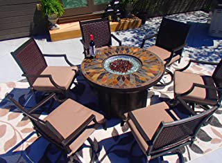 Pebble Lane Living All Weather Rust Proof Outdoor 7pc Powder Coated Aluminum Firepit Patio Set, 42