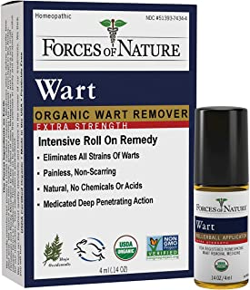 Forces Of Nature, Medicine Wart Remover Roll On Extra Strength Organic, 0.14 Ounce