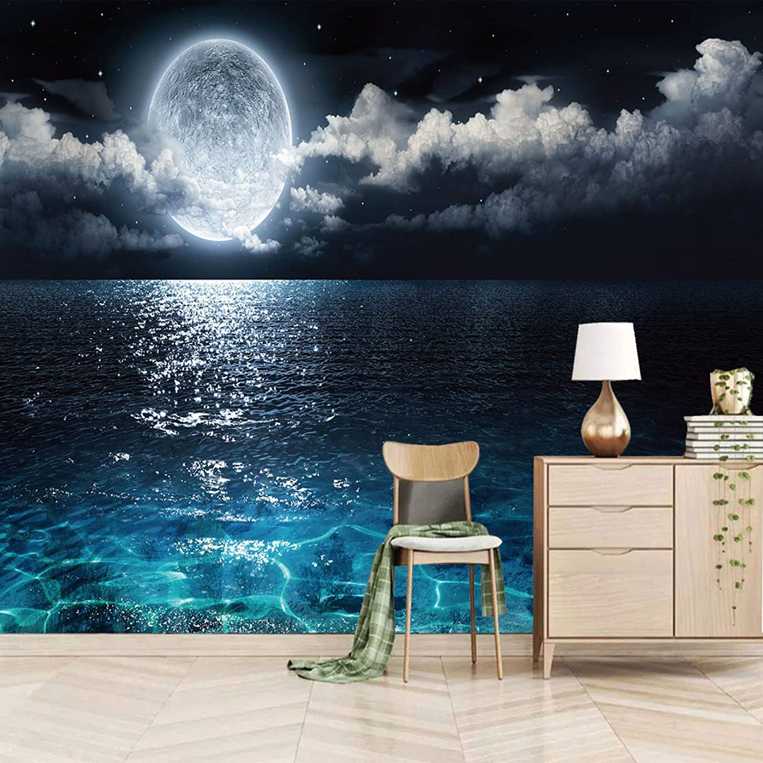 XiaoCha Night Sky Albuquerque Mall Dark Clouds Moon Self-Adhesive Wall St Lake 3D Deluxe