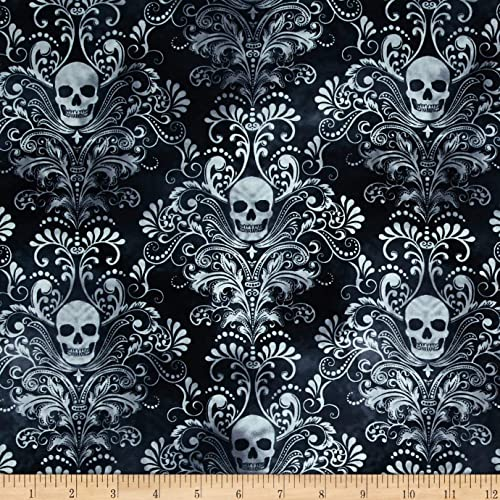 b05bdc75d84 Timeless Treasures 0420528 Skulls Damask Charcoal Fabric by The Yard