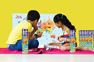 World Map Activity Kit with Reusable Stickers, Stem Toy Geography Toy with Flags, Capitals, Monuments for Kids Ages 5-7 years, 8-10 years, 11-12 years