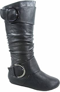 621094786480b Top Moda Bank-85 Women's Fashion Mid Calf Round Toe Slouch Comfort Casual  Flat Boot
