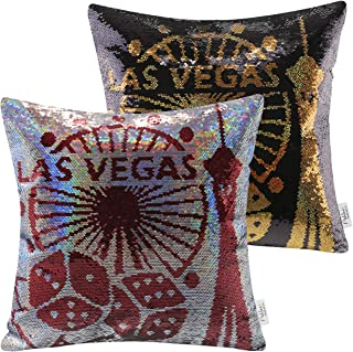 Ashler Set of 2 Throw Pillow Case Las Vegas Magic Reversible Sequins Decorative Cushion Cover Pillowcase for Couch Sofa Bed 18 x 18 inch 45 x 45 cm