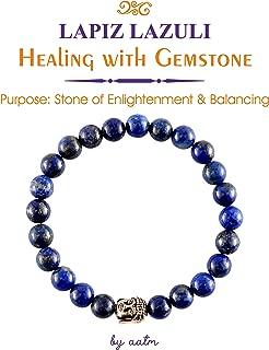 Aatm Natual Healing Gemstone Lapis Lazuli Buddha Beaded Charm Bracelet for Healing and Meditation (Beads Size - 7-8 mm)