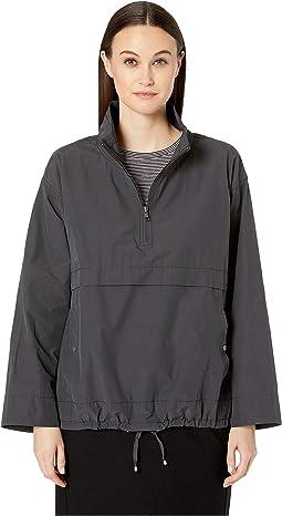 Light Organic Cotton Nylon Stand Collar Pullover Jacket