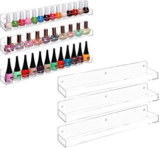 MyGift Wall-Mounted Clear Acrylic Nail Polish Floating Shelving Rack/Essential Oil Display Organizer, Set of 6