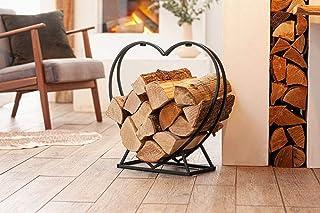 mucplants Regal Holz Aufbewahrung Herz Design Silber Deko H/öhe 75cm Kamin Feuer St/änder