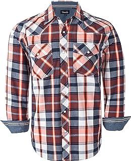 Sponsored Ad - VENZULIA Men's Western Snap Shirt Long Sleeve Regular Fit Plaid Shirts