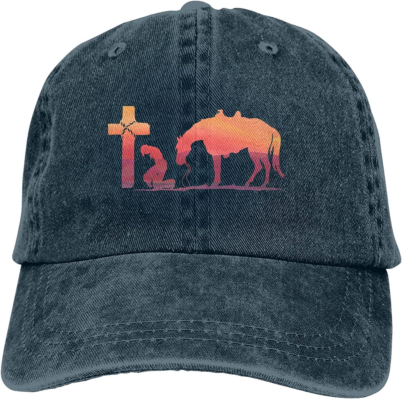 Cowboy Horse Prayer Cross Unisex Adjustable Cotton Baseball Hat Cowboy Cap Dad Hats Denim Trucker Hat