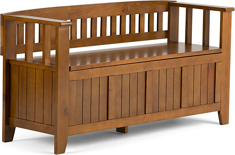 Simpli Home INT AXCACA EB ALB Acadian Solid Wood 48 Inch Wide Rustic Entryway Storage Bench In Light Avalon Brown