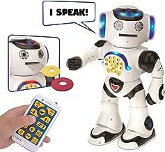 Lexibook Powerman Remote Control Walking Talking Edutainment Toy Robot, Dances, Sings, Reads Stories, Math Quiz, Shooting Discs, and Voice Mimicking, ROB50EN, White/Black