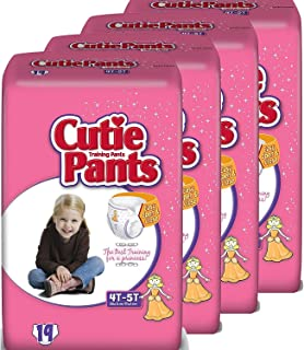 Cuties Toddler Training Pants for Girls,  Size 4T-5T,  19 Count Pack of 4