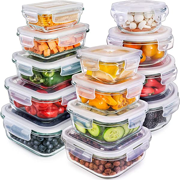 Glass Storage Containers With Lids 13 Pack Glass Food Storage Containers Airtight Glass Containers With Lids Glass Meal Prep Containers Glass Food Containers By Prep Naturals